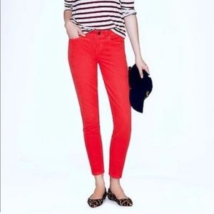 J.Crew Red toothpick ankle jeans